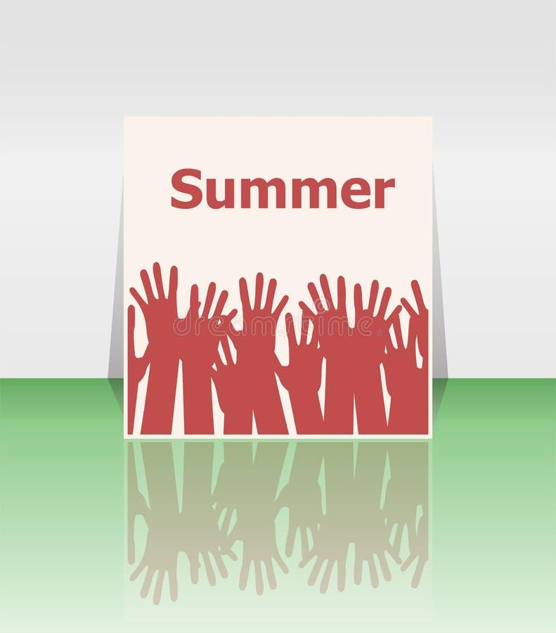 Сформулируйте руки лета и людей, концепцию праздника, дизайн значка иллюстрация штока