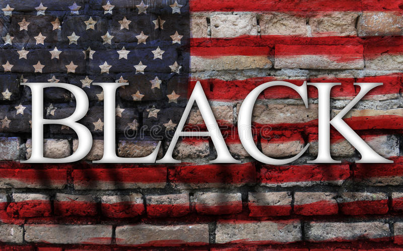Сформулируйте черноту на американском флаге, великолепной предпосылке стены стоковая фотография rf