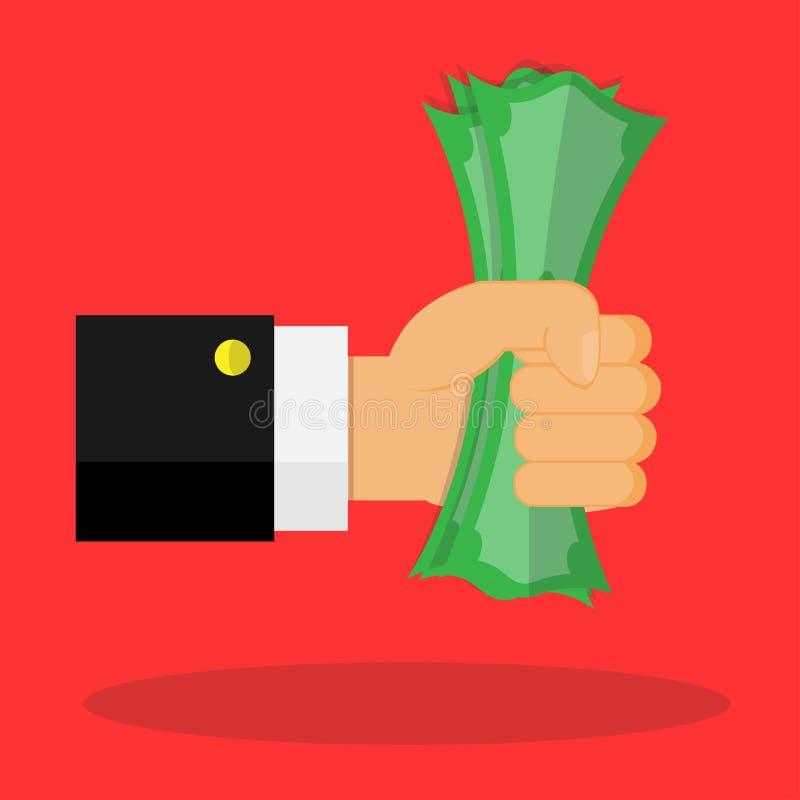 Схватите деньги в векторе руки иллюстрация вектора