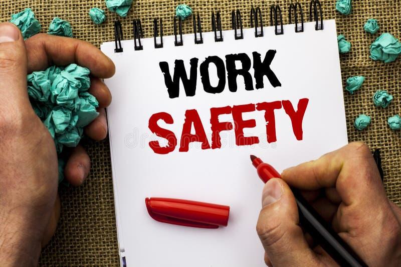 Схематическая безопасность работы показа сочинительства руки Writte Safeness обеспечения предохранения от регулировок безопасност стоковое изображение