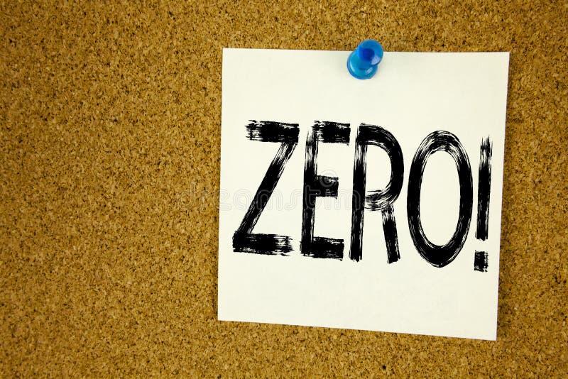 Схематическая воодушевленность титра текста сочинительства руки показывая нул Концепция дела для zero допуска Nought нулей написа стоковое изображение