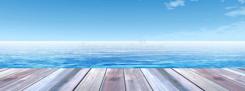 Схематическая деревянная палуба над знаменем моря и неба стоковые изображения rf