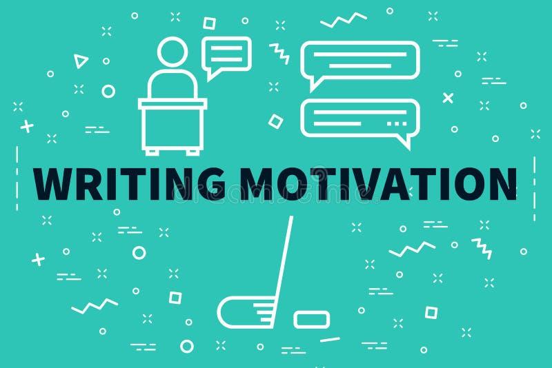 Схематическая иллюстрация дела при слова писать motivati иллюстрация вектора