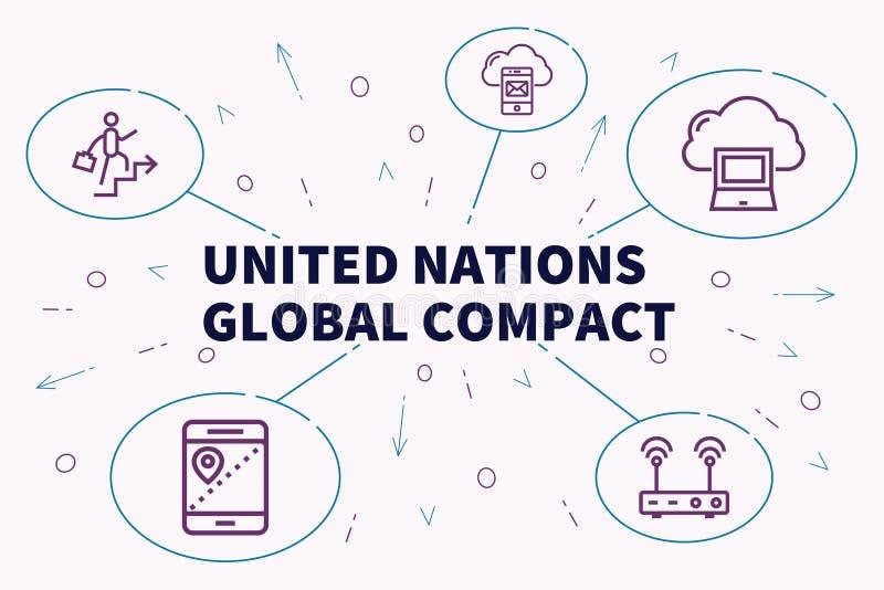 Схематическая иллюстрация дела с Организацией Объединенных Наций g слов иллюстрация штока