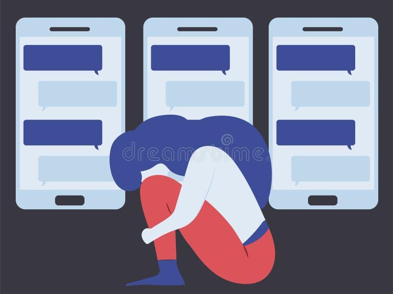 Схематическая иллюстрация для кибер задирая, злословя; клевета, шельмование стоковая фотография rf
