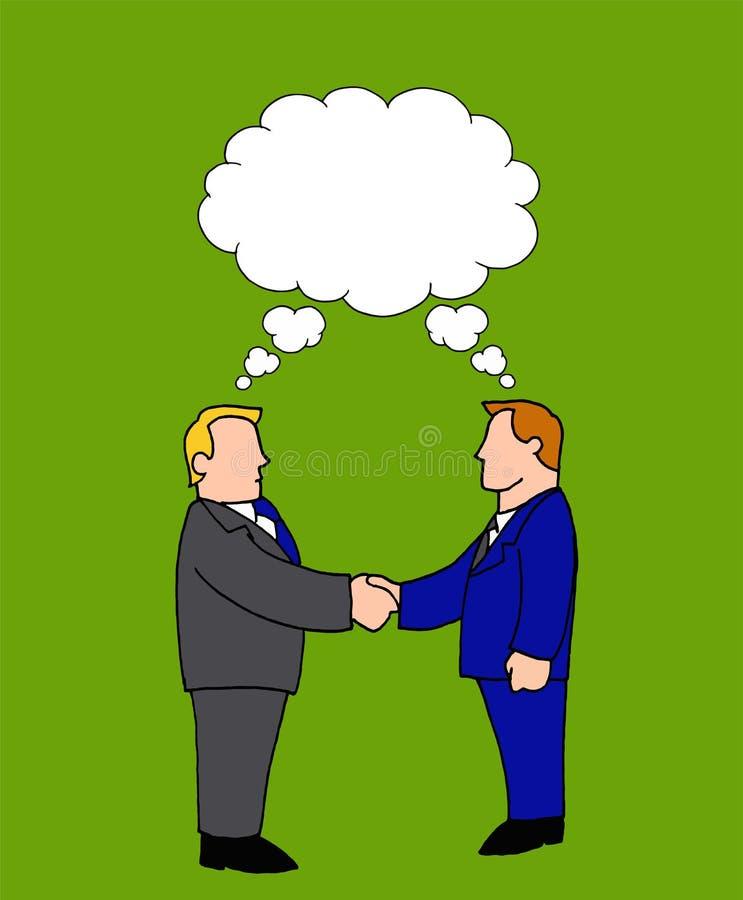 Схематическая иллюстрация 2 людей тряся руки пока делящ такую же мысль иллюстрация вектора