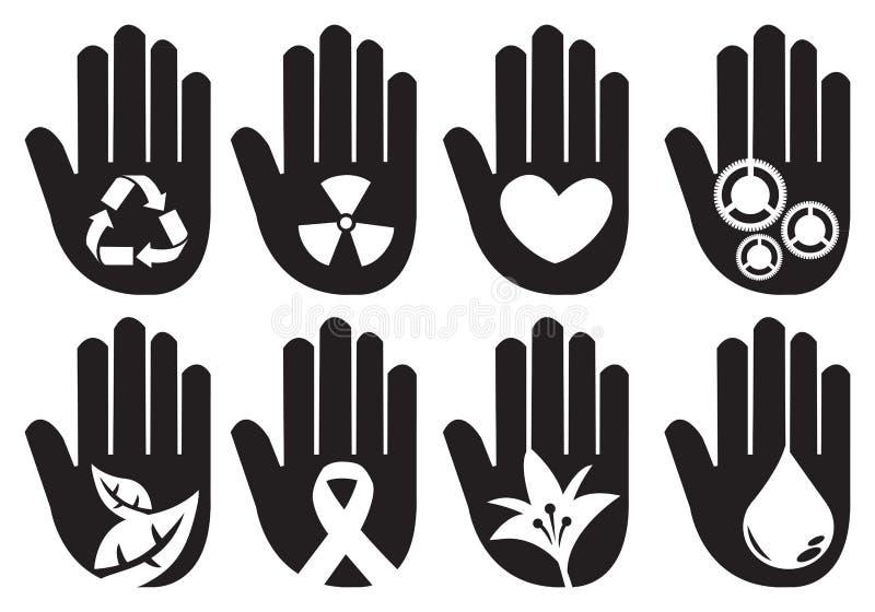 Схематическая иллюстрация символов руки иллюстрация вектора
