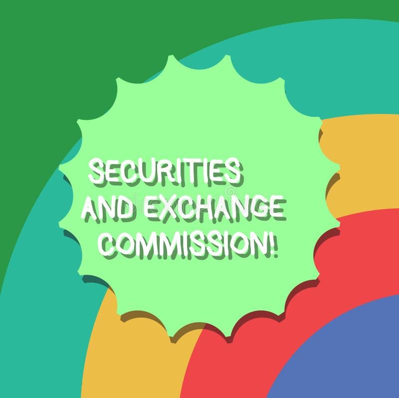 Схематическая Комиссия по ценным бумагам и биржам показа сочинительства руки Обменивать безопасности фото дела showcasing бесплатная иллюстрация