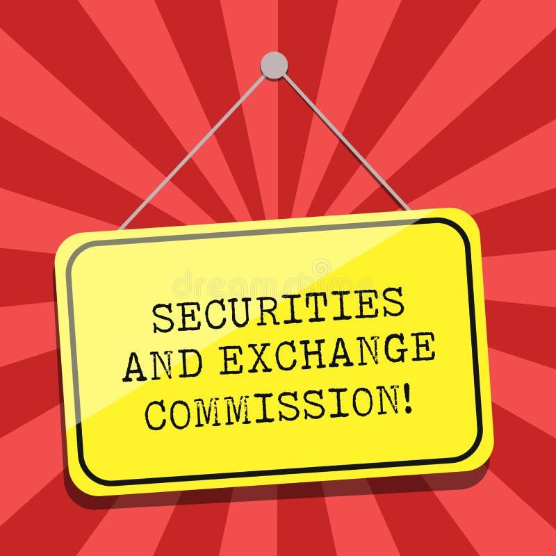 Схематическая Комиссия по ценным бумагам и биржам показа сочинительства руки Обменивать безопасности фото дела showcasing иллюстрация вектора
