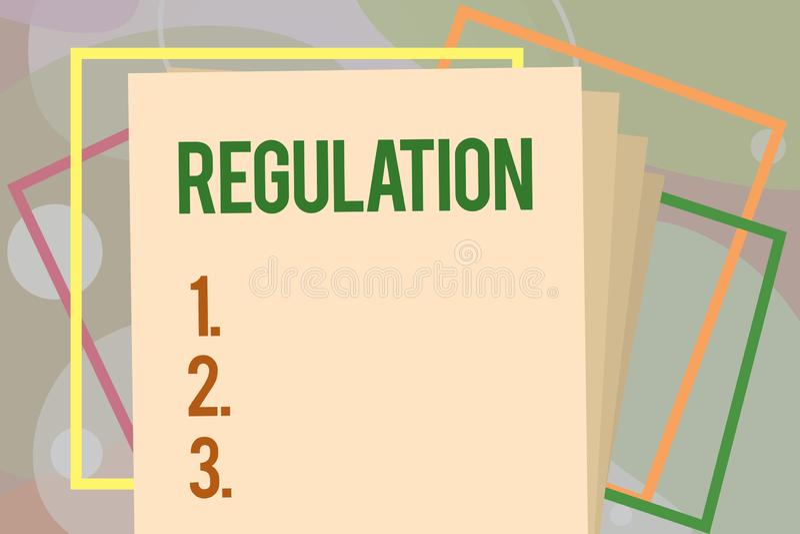 Схематическая регулировка показа сочинительства руки Закон или директива правила текста фото дела сделали и поддержали  бесплатная иллюстрация