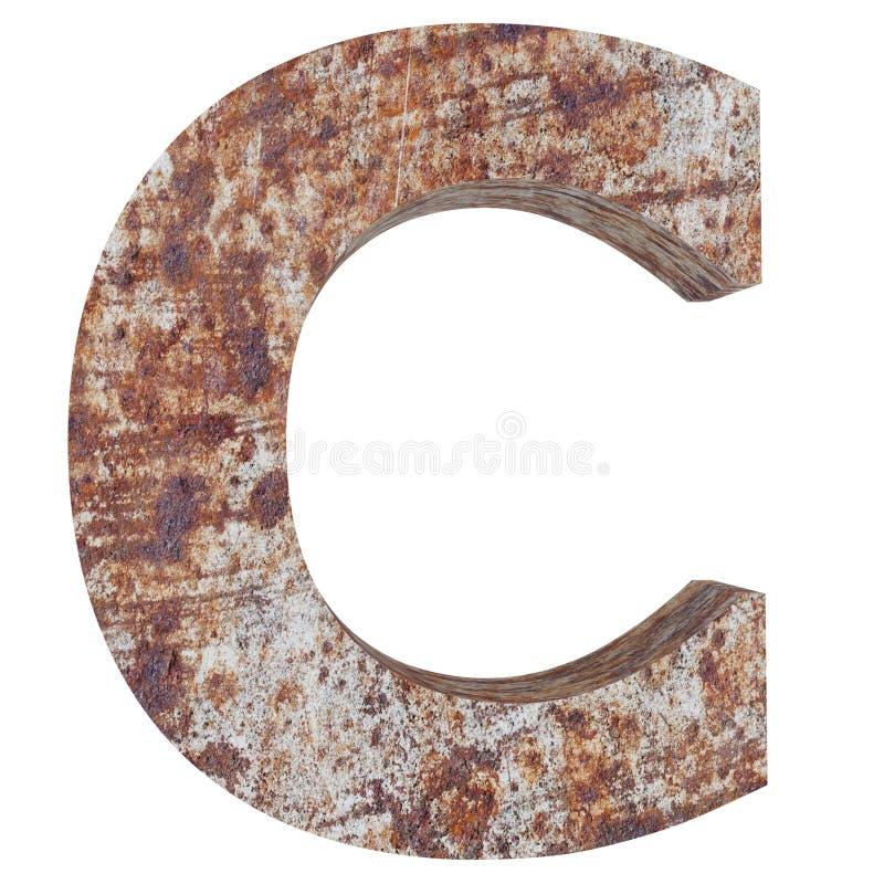 Схематическая старая заржаветая прописная буква меты - часть c, утюга или сталелитейной промышленности изолировала белую предпосы иллюстрация штока