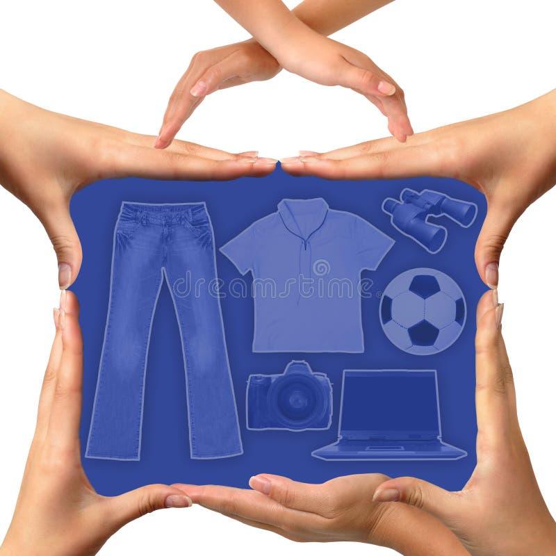 схематические руки сделали чемодан стоковая фотография