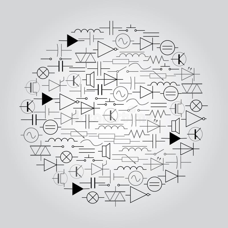 Схематические символы в электротехнике в круге иллюстрация штока
