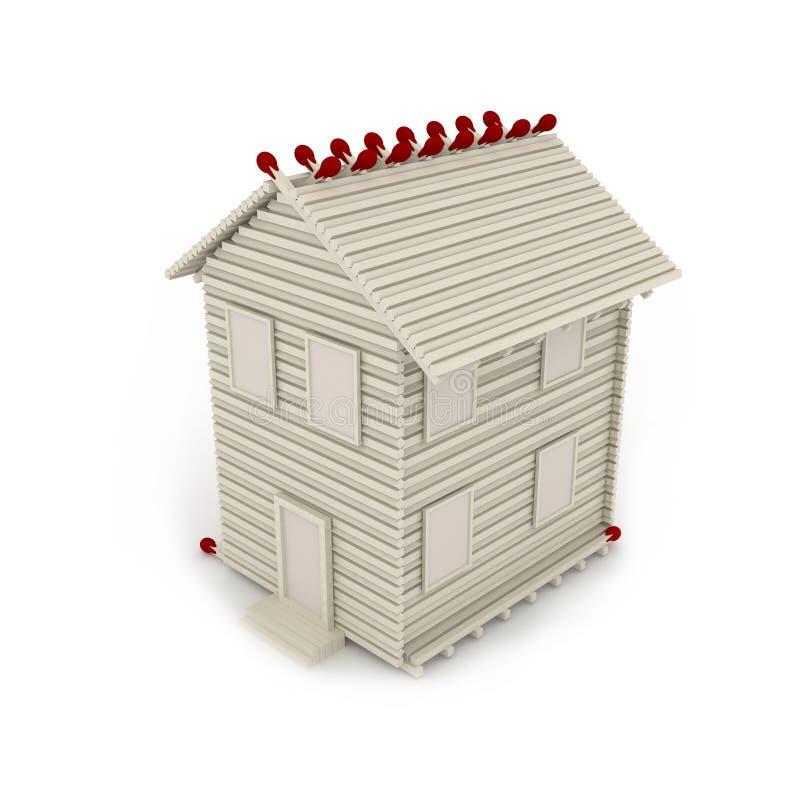 схематические спички дома иллюстрация вектора