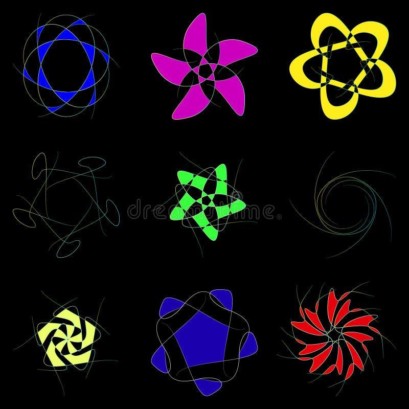 Схематические цветки на черной предпосылке бесплатная иллюстрация