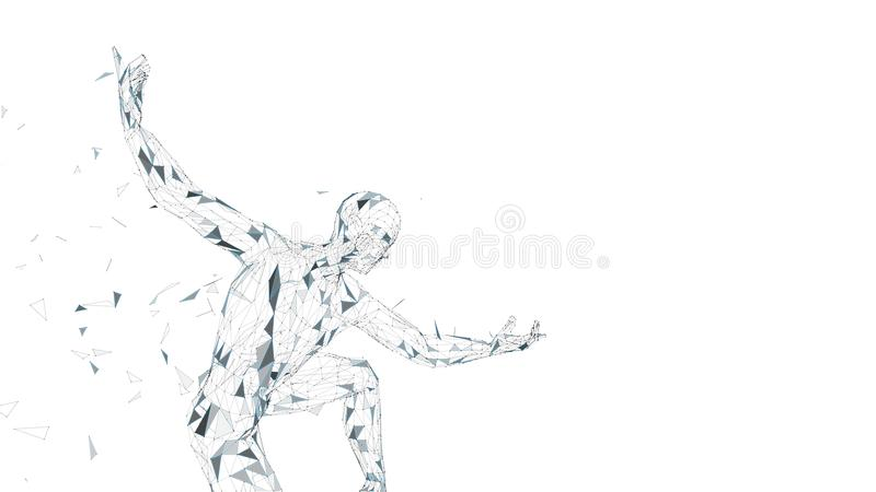 Схематический абстрактный человек готовый для боя Соединенные линии, точки, треугольники, частицы искусственний мозг обходит вокр бесплатная иллюстрация