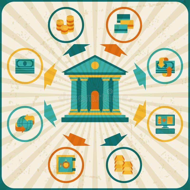 Схематический банк и дело infographic иллюстрация штока