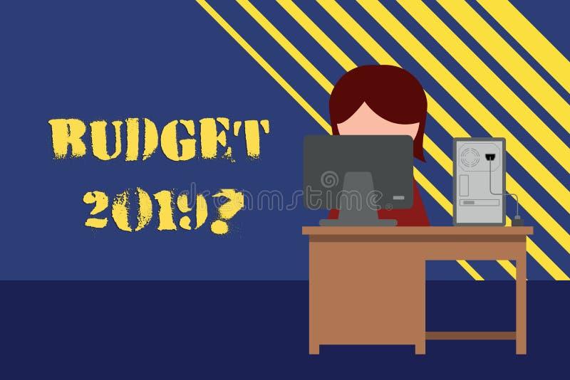 Схематический вопрос о бюджета 2019 показа сочинительства руки Оценка фото дела showcasing прихода и расхода для иллюстрация вектора