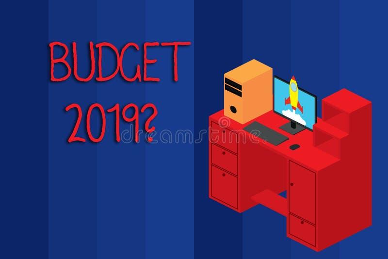 Схематический вопрос о бюджета 2019 показа сочинительства руки Оценка фото дела showcasing прихода и расхода для иллюстрация штока