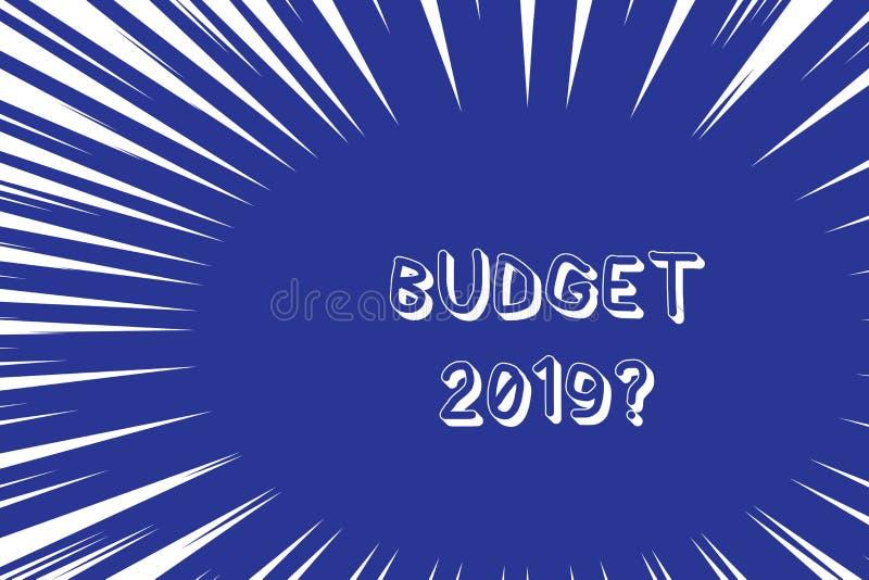 Схематический вопрос о бюджета 2019 показа сочинительства руки Оценка текста фото дела прихода и расхода для следующего бесплатная иллюстрация