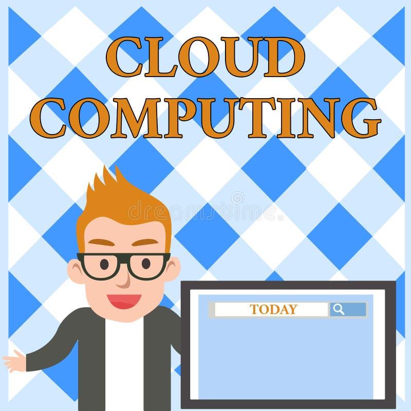 Схематический вычислять облака показа сочинительства руки Текст фото дела использовать сеть удаленных серверов, который хозяйнича бесплатная иллюстрация