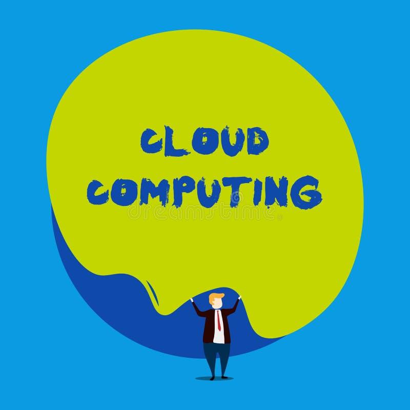Схематический вычислять облака показа сочинительства руки Showcasing фото дела использует сеть удаленных серверов, который хозяйн иллюстрация штока