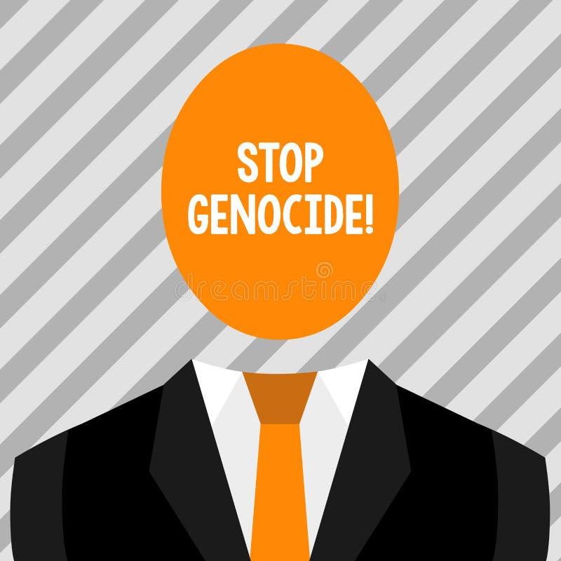 Схематический геноцид стопа показа сочинительства руки Фото дела showcasing для установки конца на убийства и зверства  бесплатная иллюстрация
