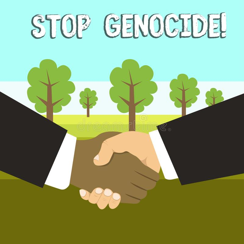 Схематический геноцид стопа показа сочинительства руки Фото дела showcasing для установки конца на убийства и зверства  иллюстрация вектора