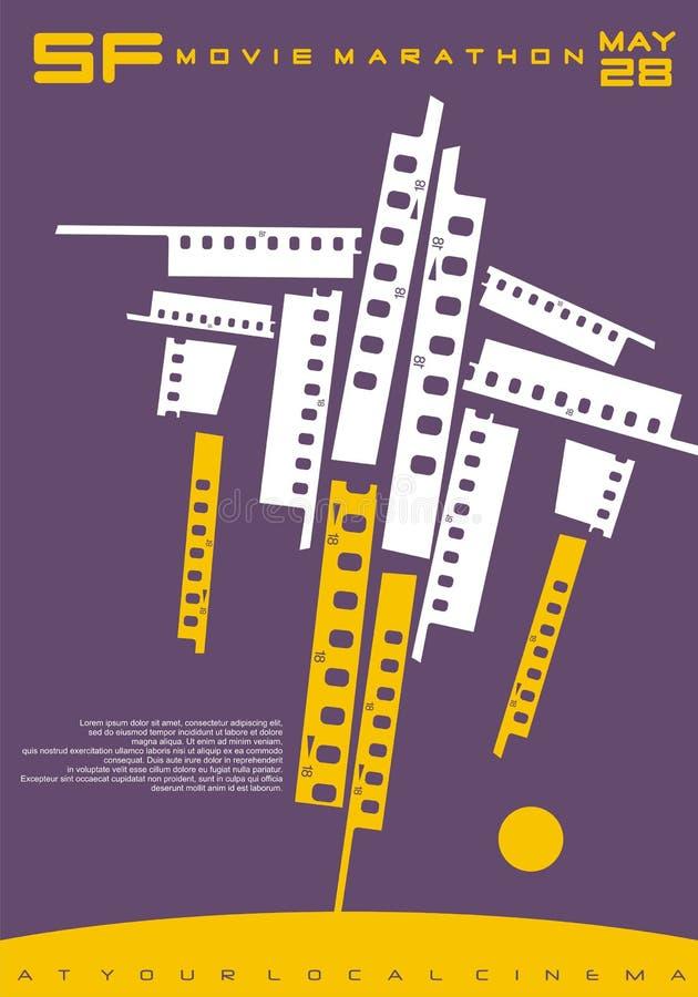 Схематический дизайн плаката для фестиваля фильмов научной фантастик иллюстрация штока