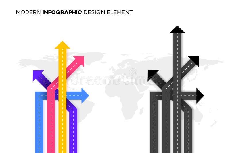 Схематический лучший выбор Иллюстрация вектора с перекрестками над Worldmap Шаблон для вашего современного Infographic иллюстрация штока