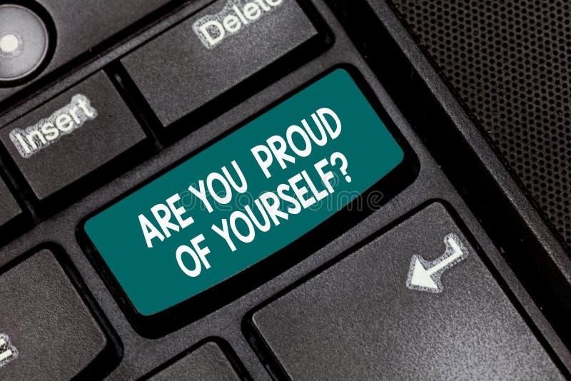 Схематический показ сочинительства руки вы гордые Yourselfquestion Текст фото дела отдает себе отчет ваших выполнений стоковое изображение