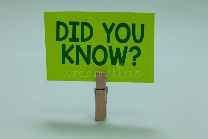 Схематический показ сочинительства руки вы знать вопрос Забавные факты фото дела showcasing и диаграммы генерал Knowled информаци стоковые изображения rf