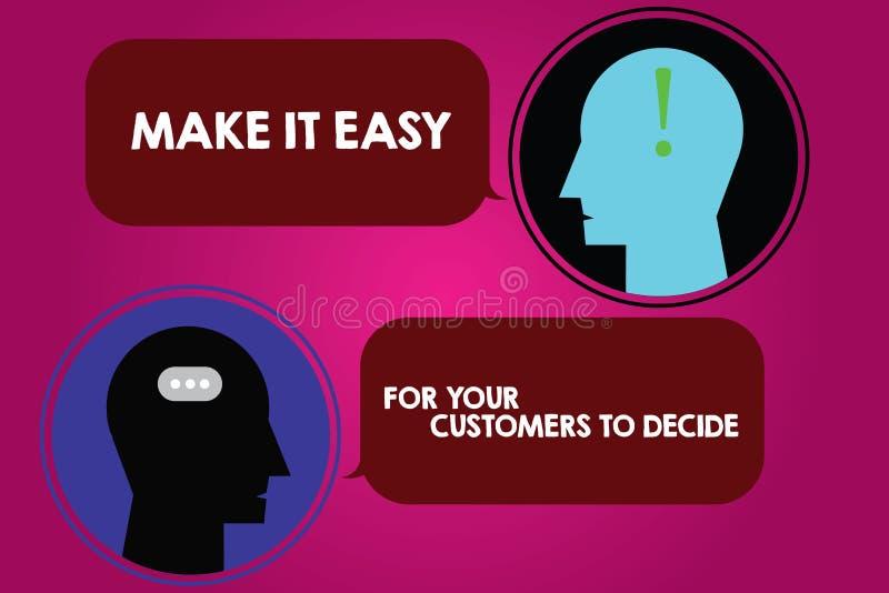 Схематический показ сочинительства руки делает его легкий для ваших клиентов решить Текст фото дела дает клиентам хорошие особенн иллюстрация вектора