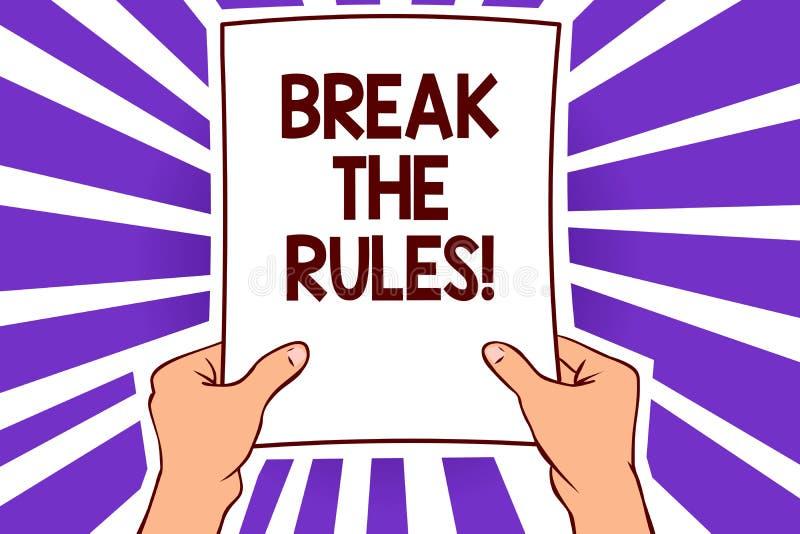 Схематический пролом показа сочинительства руки правила Текст фото дела делает изменения сделать все различная бумага p реформы п иллюстрация штока