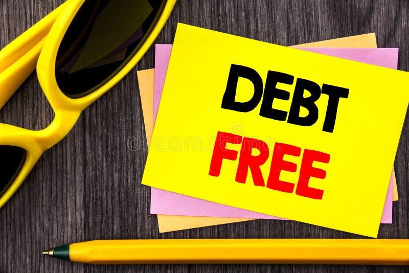 Схематический текст руки показывая задолженность свободно Свобода знака денег кредита фото дела showcasing финансовая от ипотеки  стоковые изображения rf