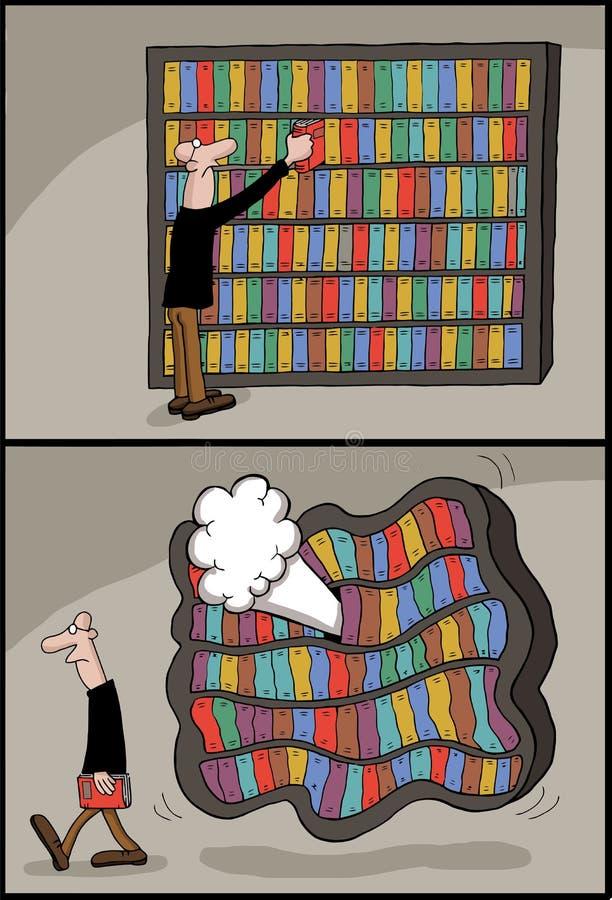 Схематический шарж библиотеки книги бесплатная иллюстрация