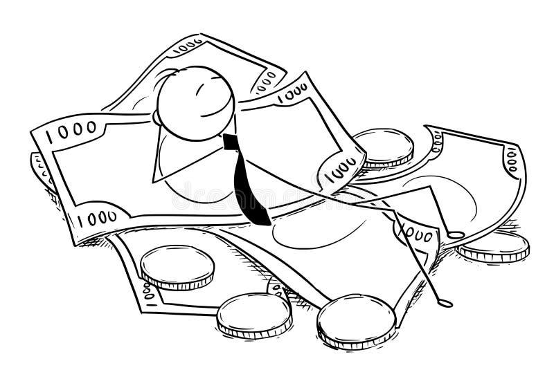 Схематический шарж бизнесмена лежа на куче денег иллюстрация штока