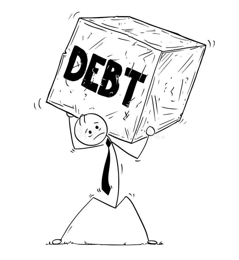 Схематический шарж бизнесмена нося большой блок задолженности Roc иллюстрация вектора