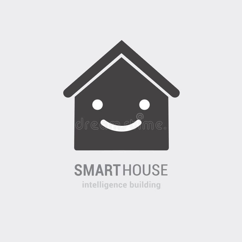 Схематическое зрение умного значка вектора дома Советовать с здания разума и управляемые обслуживания Изолированная нарисованная  иллюстрация вектора