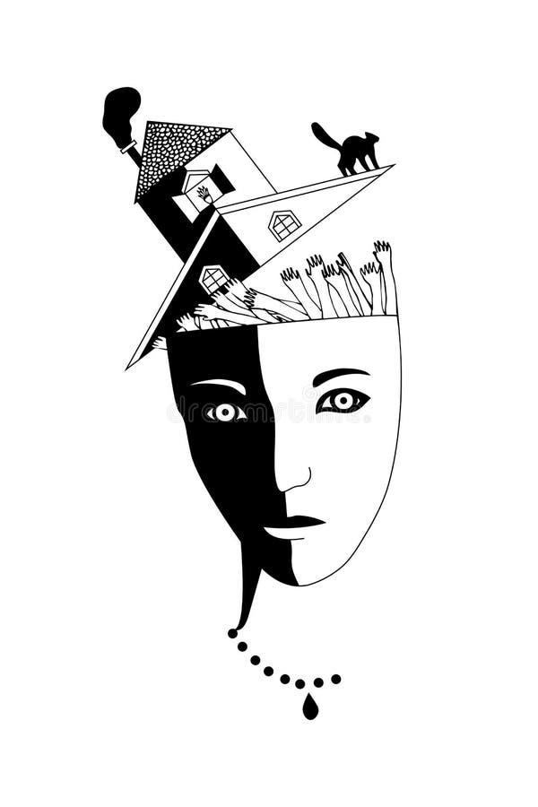Схематическое изображение головы ` s девушки с много людьми в мозге Символ шизофрении, умственного disorde бесплатная иллюстрация
