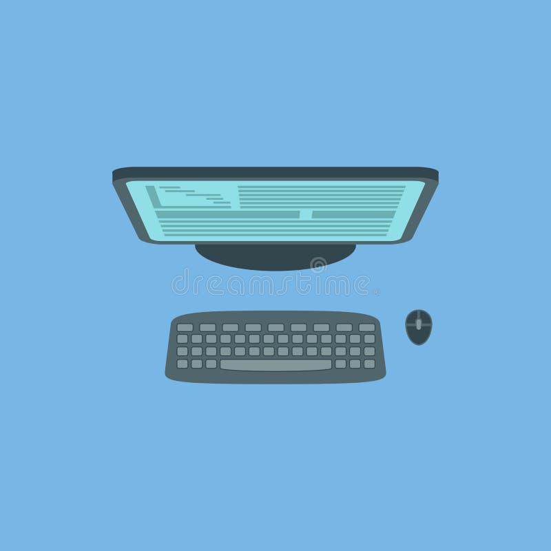 Схематическое изображение персонального компьютера над взглядом иллюстрация штока