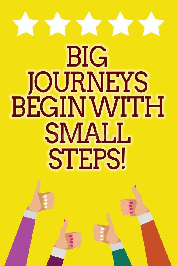 Схематическое сочинительство руки показывая большие путешествия начинает с малыми шагами Фото дела showcasing один шаг одновремен иллюстрация штока