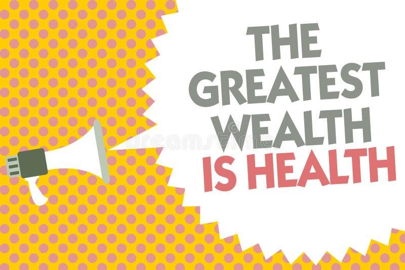 Схематическое сочинительство руки показывая большое богатство здоровье Текст фото дела находясь в хороших здоровьях призовые забо иллюстрация вектора