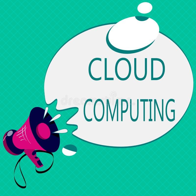 Схематическое сочинительство руки показывая вычислять облака Польза текста фото дела сеть удаленных серверов, который хозяйничают иллюстрация штока