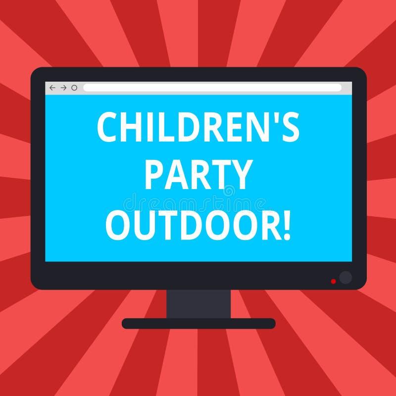 Схематическое сочинительство руки показывая детям s партия на открытом воздухе Праздненство детей текста фото дела, который держа бесплатная иллюстрация
