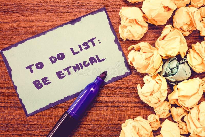 Схематическое сочинительство руки показывая для того чтобы сделать список этично План или напоминание фото дела showcasing которы стоковое изображение