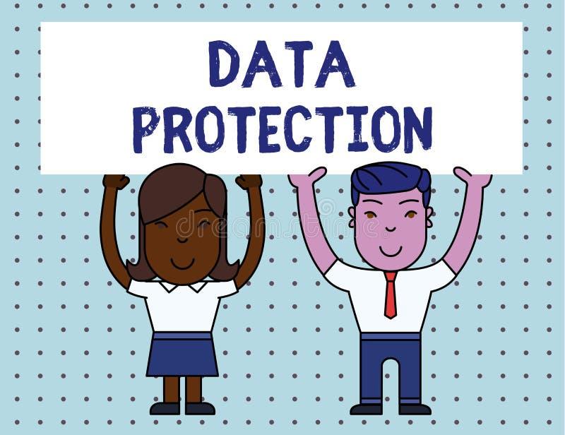 Схематическое сочинительство руки показывая защиту данных Showcasing фото дела защищает IP-адресы и demonstratingal данные иллюстрация штока