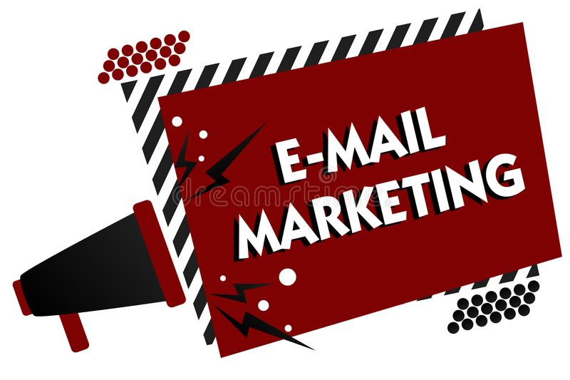 Схематическое сочинительство руки показывая маркетинг электронной почты Электронная коммерция текста фото дела рекламируя онлайн  бесплатная иллюстрация