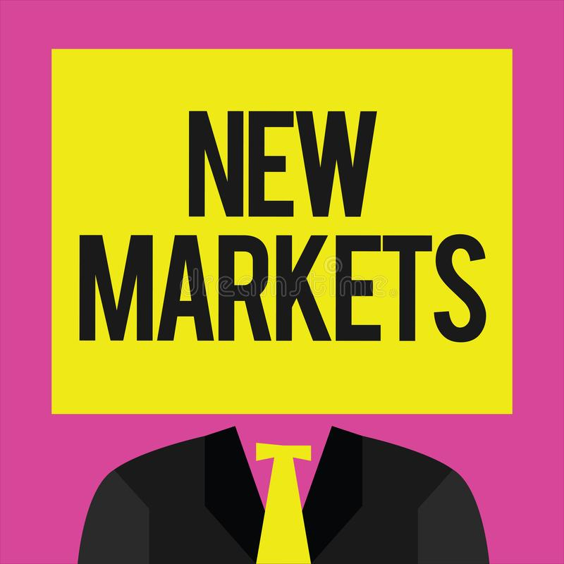 Схематическое сочинительство руки показывая новые рынки Фото дела showcasing различные коммерчески стратегии достигая другое иллюстрация штока