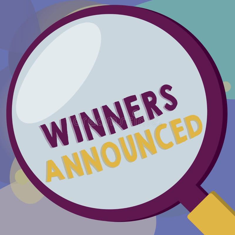 Схематическое сочинительство руки показывая объявленные победителей Текст фото дела объявляя кто выиграло состязание или любую ко иллюстрация вектора